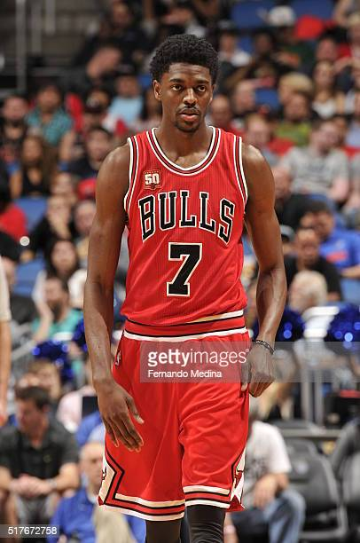 Justin Holiday of the Chicago Bulls looks on during the game against the Orlando Magic on March 26 2016 at Amway Center in Orlando Florida NOTE TO...