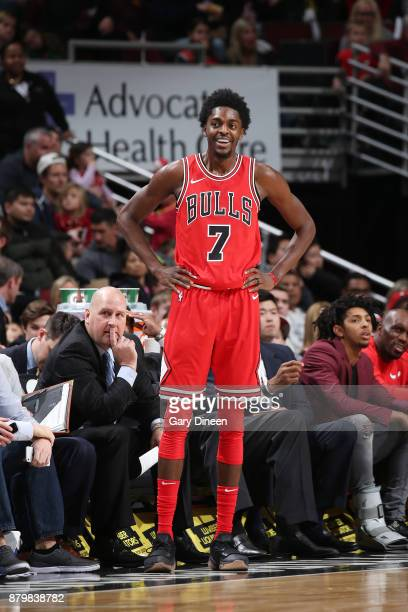 Justin Holiday of the Chicago Bulls reacts on the court during the game against the Miami Heat on November 26 2017 at the United Center in Chicago...