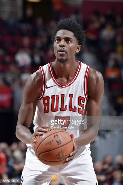 Justin Holiday of the Chicago Bulls shoots the ball against the Cleveland Cavaliers on October 24 2017 at Quicken Loans Arena in Cleveland Ohio NOTE...
