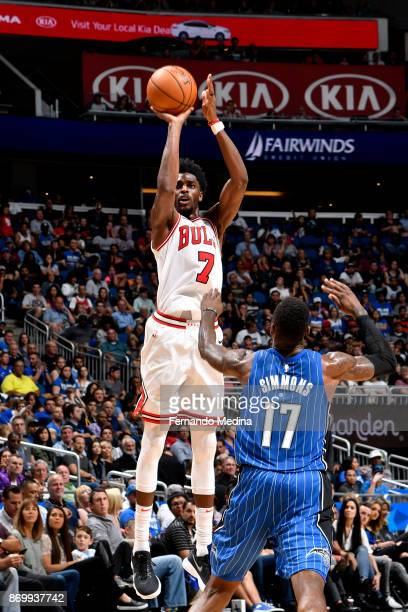 Justin Holiday of the Chicago Bulls shoots the ball during the game against the Orlando Magic on November 3 2017 at Amway Center in Orlando Florida...