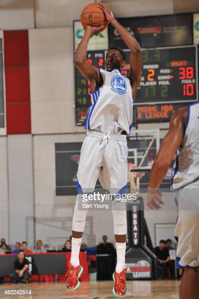 Justin Holiday of the Golden State Warriors shoots the ball against the Atlanta Hawks on July 16 2014 at the Cox Pavilion in Las Vegas Nevada NOTE TO...