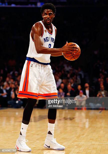 Justin Holiday of the New York Knicks in action against the Houston Rockets at Madison Square Garden on November 2 2016 in New York City The Rockets...