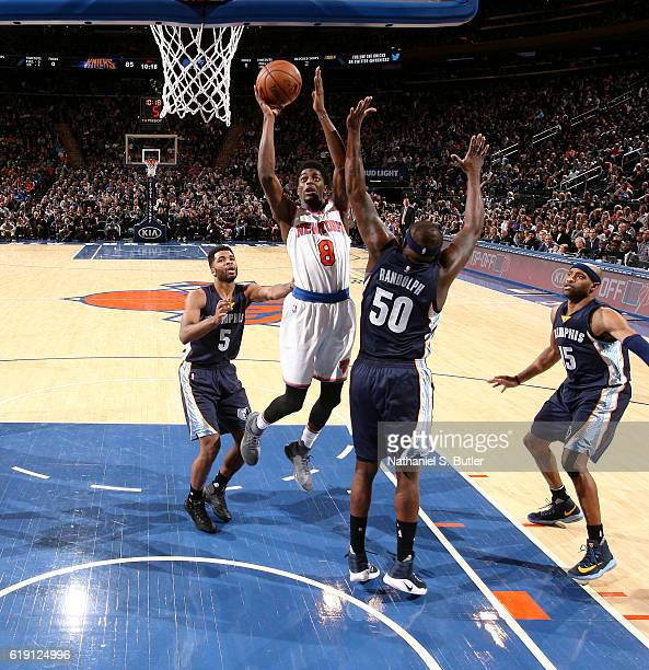 Justin Holiday of the New York Knicks shoots the ball against the Memphis Grizzlies on October 29 2016 at Madison Square Garden in New York City New...