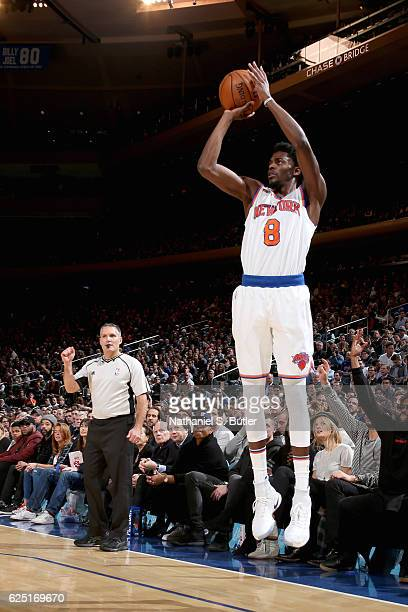 Justin Holiday of the New York Knicks shoots the ball against the Portland Trail Blazers on November 22 2016 at Madison Square Garden in New York...