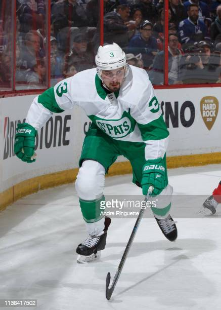 Justin Holl of the Toronto Maple Leafs skates against the Ottawa Senators at Canadian Tire Centre on March 16 2019 in Ottawa Ontario Canada