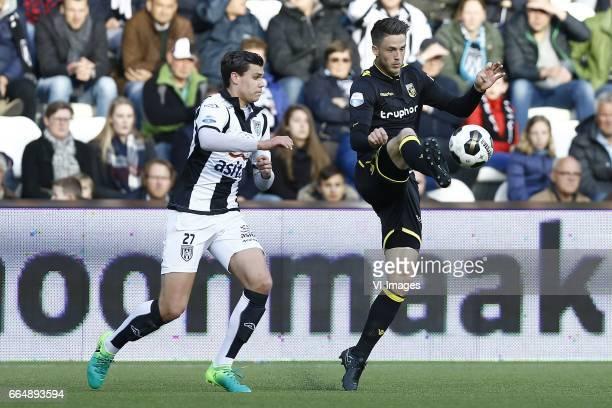 Justin Hoogma of Heracles Almelo Ricky van Wolfswinkel of Vitesse Arnhemduring the Dutch Eredivisie match between Heracles Almelo and Vitesse Arnhem...