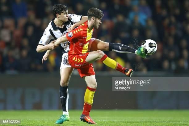 Justin Hoogma of Heracles Almelo Sam hendriks of Go Ahead Eaglesduring the Dutch Eredivisie match between Go Ahead Eagles and Heracles Almelo at The...
