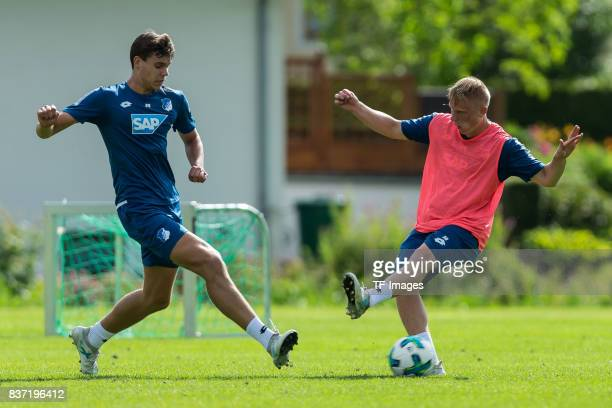 Justin Hoogma of Hoffenheim and Philipp Ochs of Hoffenheim battle for the ball during the Training Camp of TSG 1899 Hoffenheim on July 16 2017 in...