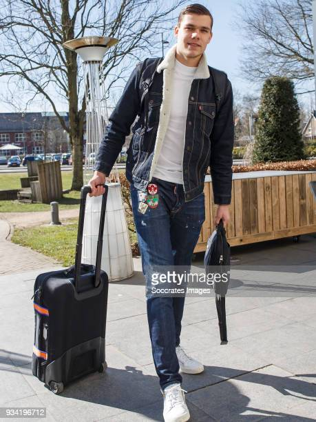 Justin Hoogma of Holland U21 during the Arrival Holland U21 at the Hotel Villa Ruimzicht on March 19 2018 in Doetinchem Netherlands