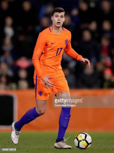 Justin Hoogma of Holland U21 during the match between Holland U21 v Belgium U21 at the De Vijverberg on March 22 2018 in Doetinchem Netherlands