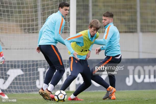 Justin Hoogma of Holland U21 Michel Vlap of Holland U21 Bart Nieuwkoop of Holland U21 during the Training Holland U21 at the Ciutat Esportiva Dani...