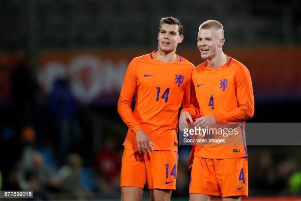 Justin Hoogma of Holland U21 Rick van Drongelen of Holland U21 celebrate the victory during the match between Holland U21 v Andorra U21 at the De...