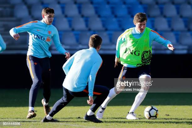 Justin Hoogma of Holland U21 Sam Lammers of Holland U21 during the Training Holland U21 at the De Vijverberg on March 19 2018 in Doetinchem...