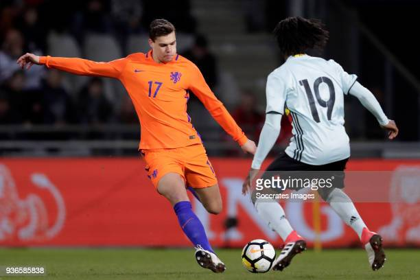 Justin Hoogma of Holland U21 Stephane Richie Omeonga of Belgium U21 during the match between Holland U21 v Belgium U21 at the De Vijverberg on March...