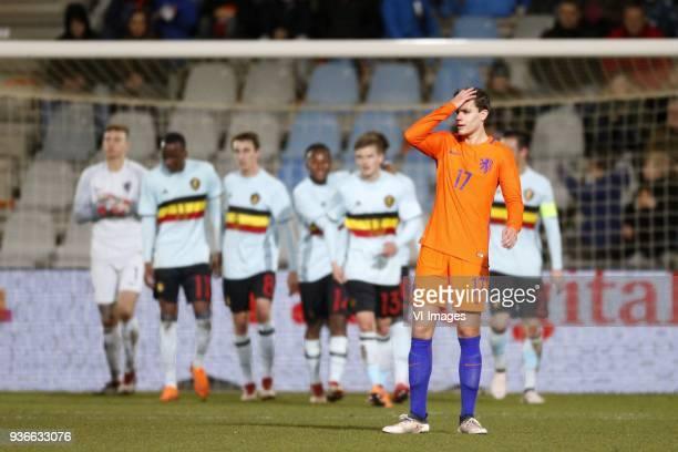 Justin Hoogma of Jong Oranje during the International friendly match between Netherlands U21 and Belgium U21 at the Vijverberg stadium on March 22...