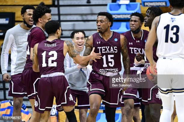 Justin Hopkins of the Texas Southern Tigers celebrates with teammates during the game against the Mount St. Mary's Mountaineers in the First Four...