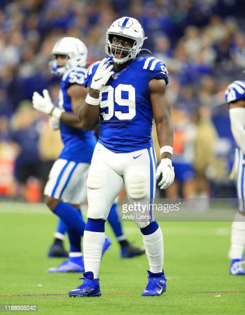 Justin Houston of the Indianapolis Colts during the game against the Jacksonville Jaguars at Lucas Oil Stadium on November 17, 2019 in Indianapolis,...
