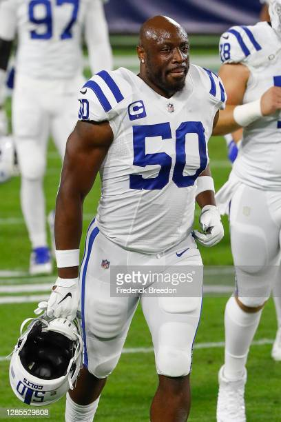 Justin Houston of the Indianapolis Colts leaves the field after warm ups before a game against the Tennessee Titans at Nissan Stadium on November 12,...