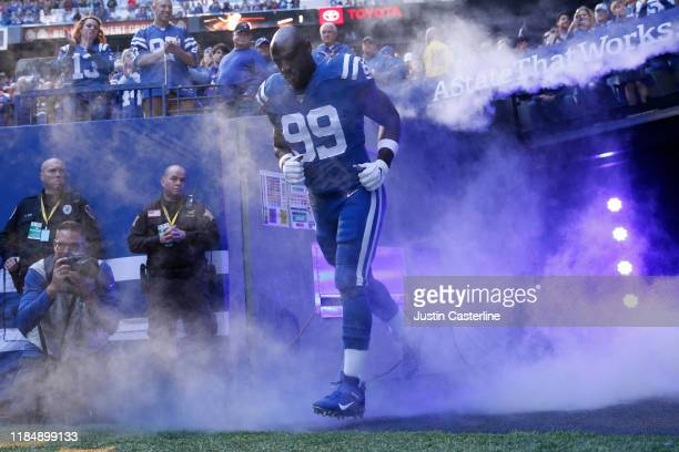 Justin Houston of the Indianapolis Colts runs onto the field before the game against the Denver Broncos at Lucas Oil Stadium on October 27, 2019 in...