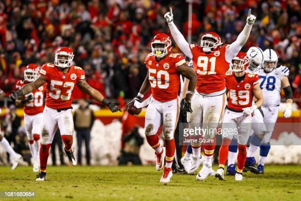 Justin Houston of the Kansas City Chiefs celebrates after recovering a fumble against the Indianapolis Colts during the third quarter of the AFC...