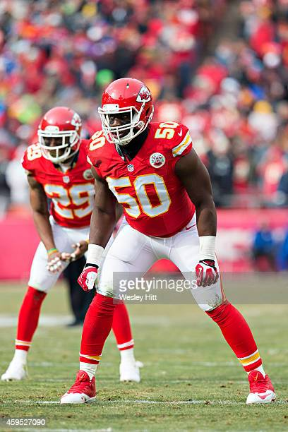 Justin Houston of the Kansas City Chiefs waits at the line of scrimmage for the next play during a game against the Seattle Seahawks at Arrowhead...