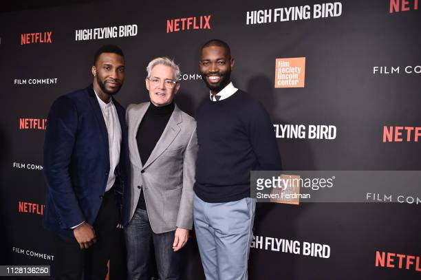 """Justin Hurtt-Dunkley, Kyle MacLachlan, and Tarell Alvin McCraney attend the Netflix """"High Flying Bird"""" Film Comment Select Special Screening at..."""
