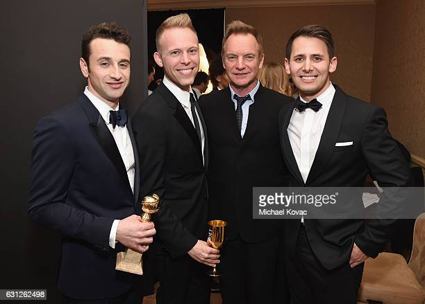 Justin Hurwitz Justin Paul Sting and Benj Pasek attend the 74th Annual Golden Globe Awards at The Beverly Hilton Hotel on January 8 2017 in Beverly...