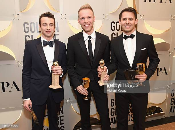 Justin Hurwitz Justin Pauland Benj Pasek attend the 74th Annual Golden Globe Awards at The Beverly Hilton Hotel on January 8 2017 in Beverly Hills...