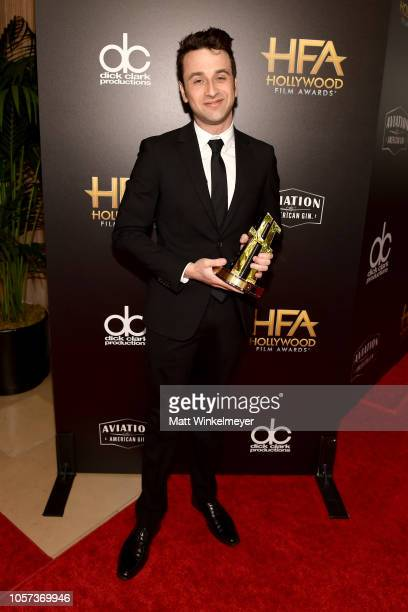 Justin Hurwitz poses with Hollywood Film Composer Award for First Man at the 22nd Annual Hollywood Film Awards at The Beverly Hilton Hotel on...