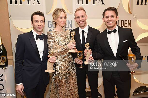 Justin Hurwitz Sarah Paulson Justin Paul Benj Pasek attend the 74th Annual Golden Globe Awards at The Beverly Hilton Hotel on January 8 2017 in...