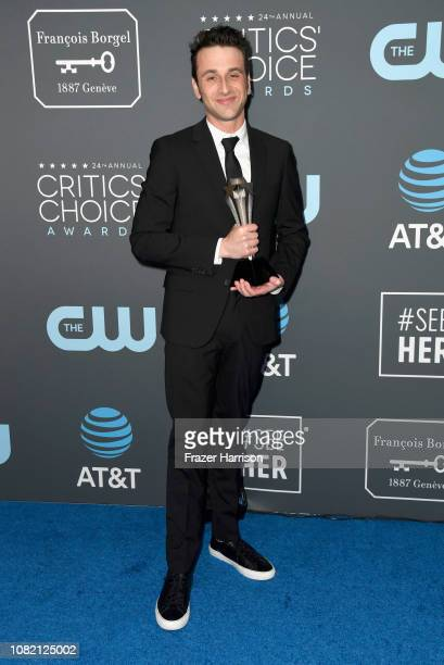Justin Hurwitz winner of Best Score for 'First Man' poses in the press room during the 24th annual Critics' Choice Awards at Barker Hangar on January...