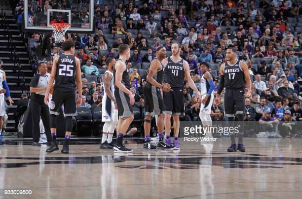 Justin Jackson Bogdan Bogdanovic Vince Carter Kosta Koufos and Garrett Temple of the Sacramento Kings face the Orlando Magic on March 9 2018 at...