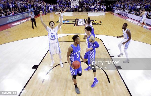 Justin Jackson of the North Carolina Tar Heels celebrates after the game winning basket by Luke Maye against the Kentucky Wildcats during the 2017...
