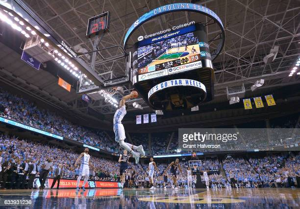 Justin Jackson of the North Carolina Tar Heels drives in for a dunk against the Notre Dame Fighting Irish during the game at the Greensboro Coliseum...
