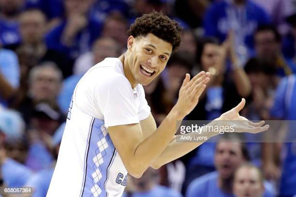 Justin Jackson of the North Carolina Tar Heels reacts after a play in the first half against the Kentucky Wildcats during the 2017 NCAA Men's...