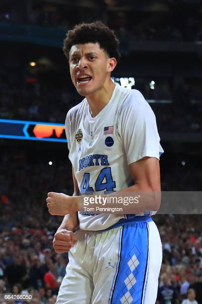 Justin Jackson of the North Carolina Tar Heels reacts after a play in the second half against the Gonzaga Bulldogs during the 2017 NCAA Men's Final...