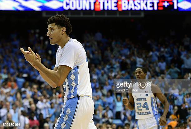 Justin Jackson of the North Carolina Tar Heels reacts after a play during their game against the Tennessee Volunteers at Dean Smith Center on...