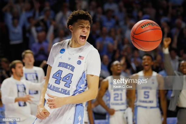 Justin Jackson of the North Carolina Tar Heels reacts after defeating the Arkansas Razorbacks 7265 in the second round of the 2017 NCAA Men's...