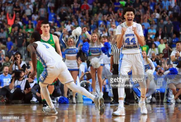 Justin Jackson of the North Carolina Tar Heels reacts after defeating the Oregon Ducks during the 2017 NCAA Men's Final Four Semifinal at University...
