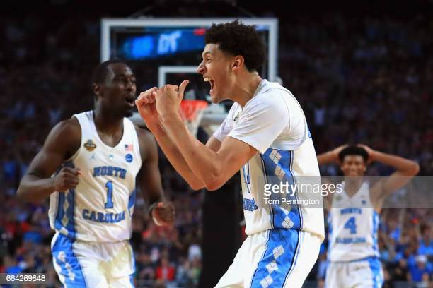 Justin Jackson of the North Carolina Tar Heels reacts late in the second half against the Gonzaga Bulldogs during the 2017 NCAA Men's Final Four...