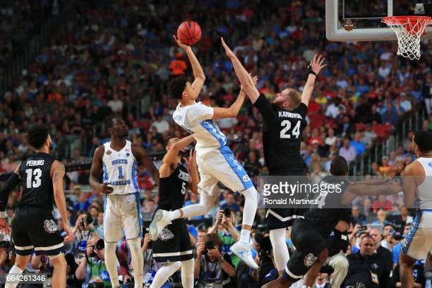 Justin Jackson of the North Carolina Tar Heels shoots against Przemek Karnowski of the Gonzaga Bulldogs in the second half during the 2017 NCAA Men's...