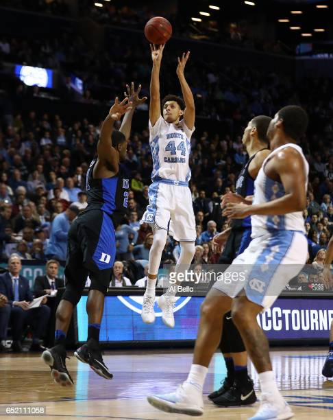 Justin Jackson of the North Carolina Tar Heels shoots against the Duke Blue Devils during the Semi Finals of the ACC Basketball Tournament at the...