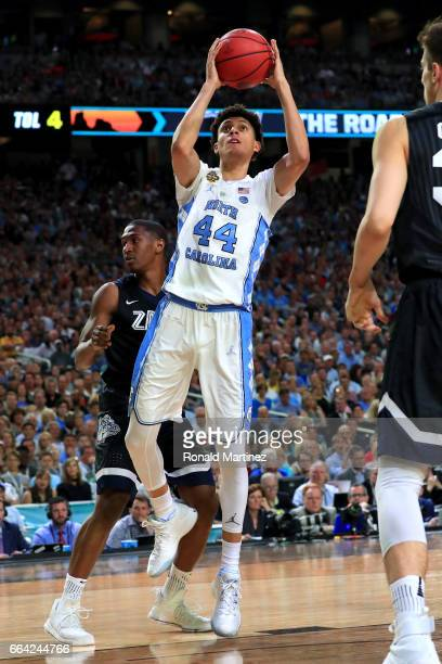 Justin Jackson of the North Carolina Tar Heels shoots in the first half against the Gonzaga Bulldogs during the 2017 NCAA Men's Final Four National...