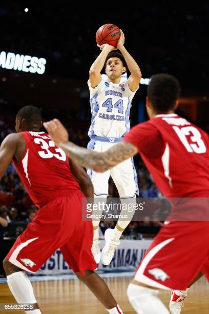 Justin Jackson of the North Carolina Tar Heels shoots the ball in the first half against the Arkansas Razorbacks during the second round of the 2017...