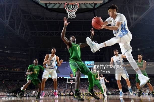Justin Jackson of the North Carolina Tar Heels takes a shot during the 2017 NCAA Men's Final Four Semifinal against the Oregon Ducks at University of...