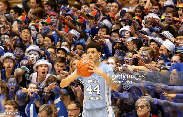 Justin Jackson of the North Carolina Tar Heels throws the ball in against the Duke Blue Devils during their game at Cameron Indoor Stadium on...