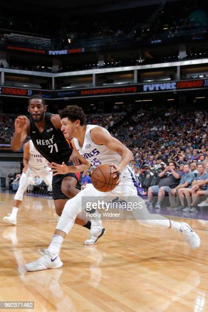 Justin Jackson of the Sacramento Kings drives against the Miami Heat during the 2018 Summer League at the Golden 1 Center on July 5 2018 in...