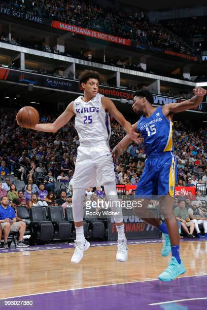 Justin Jackson of the Sacramento Kings handles the ball against the Golden State Warriors on July 3 2018 at Golden 1 Center in Sacramento California...