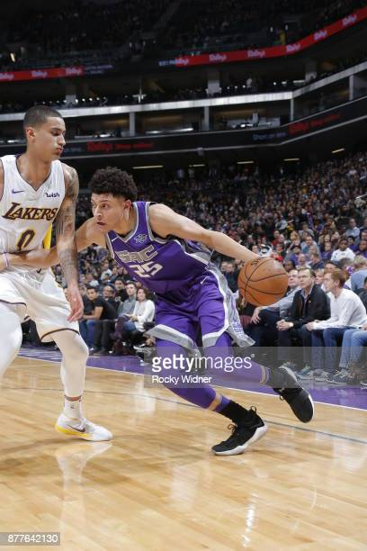 Justin Jackson of the Sacramento Kings handles the ball during the game against the Los Angeles Lakers on November 22 2017 at Golden 1 Center in...