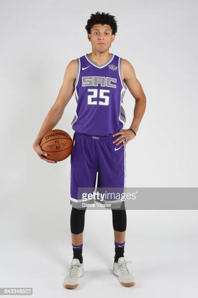 Justin Jackson of the Sacramento Kings poses for a photo during a rookie shoot at the Golden 1 Center in Sacramento California on August 31 2017 NOTE...
